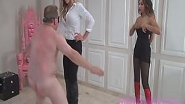 Mistress Jennifer Ballbusting Old Bob with Blonde Friend (Femdom)