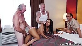 Asian old man young girl and old cleaning woman xxx Staycation with a