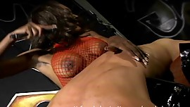 Asian guy feels the full wrath of the sexy mistress Nyomi Banxxx