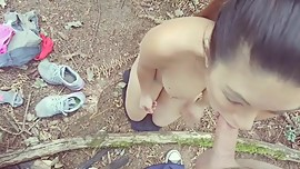 Asian Outdoor POV Blowjob