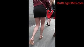 Candid Blonde Miniskirt
