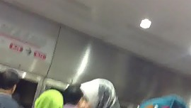 Hijabi Ass Touch On The LRT In KL, Malaysia (part 1):-D