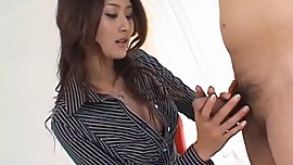 Risa Murakami busty sucks and licks tool