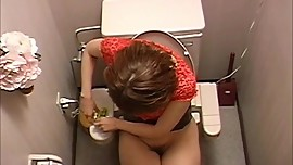 Japanese Girl Masturbating In Toilet Room Area